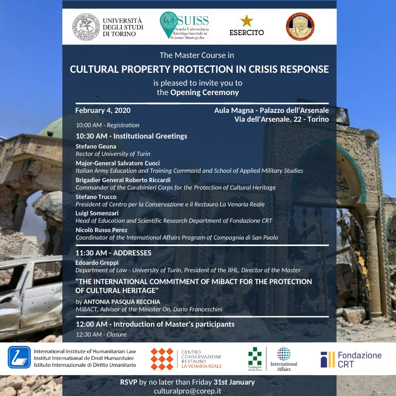 "A Torino il Master Internazionale in ""Cultural Property Protection in Crisis Response"""